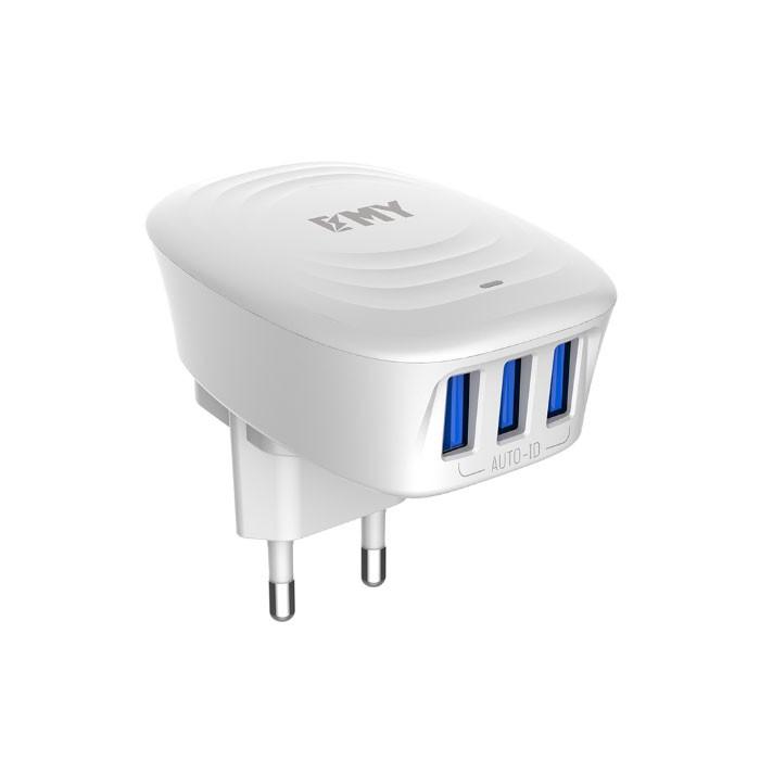 شارژر دیواری EMY مدل 229 دارای 3 پورت ورودی USB